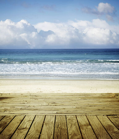 Boardwalk leading to beach scenery photo