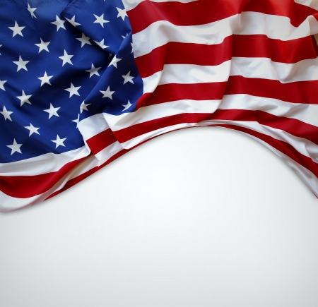 american states: Closeup of American flag on plain background