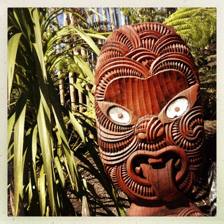 maories: Talla maor� tradicional. Nueva Zelandia Foto de archivo