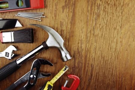 herramientas de construccion: Diversas herramientas de trabajo en la madera Foto de archivo