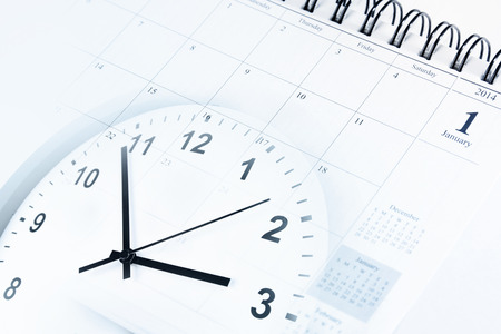 organizer page: Clock face and calendar composite Stock Photo
