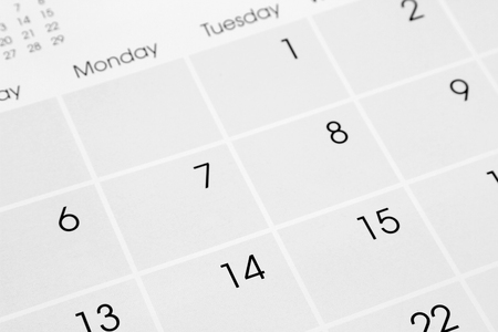 a calendar: Closeup of numbers on calendar page
