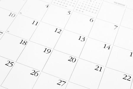 Nahaufnahme von Zahlen auf Kalender-Seite Standard-Bild - 24197596