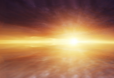 rays of sun: Sun rays shining brightly in clouds Stock Photo