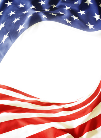 american background: Closeup of American flag on plain background