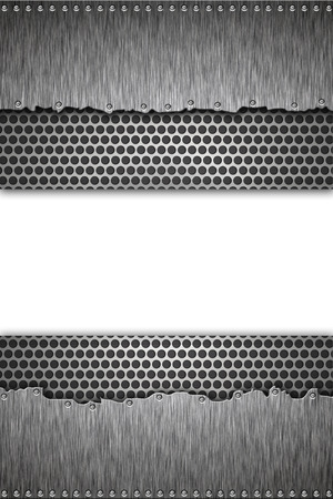 Grill pattern and riveted steel background