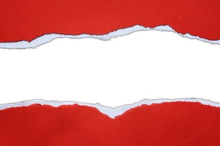 teared paper: Hole ripped in red paper on white background Stock Photo
