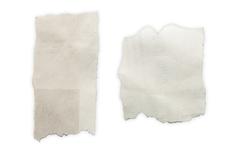 blank newspaper: Two pieces of torn paper on plain background. Copy space Stock Photo