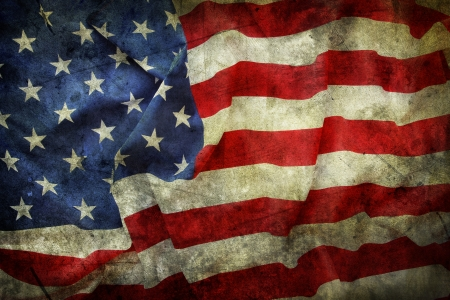 american flag: Closeup of grunge American flag
