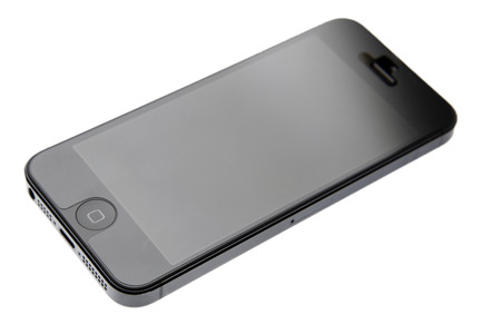 iPhone 5 mobile phone on white background