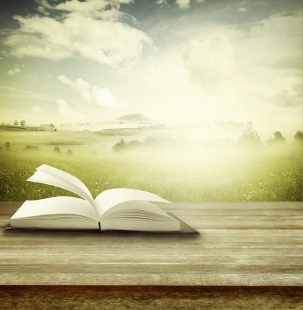 biblia: Libro abierto sobre la mesa delante de fondo primavera