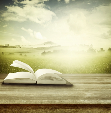 bible ouverte: Ouvrez le livre sur la table en face de fond de printemps