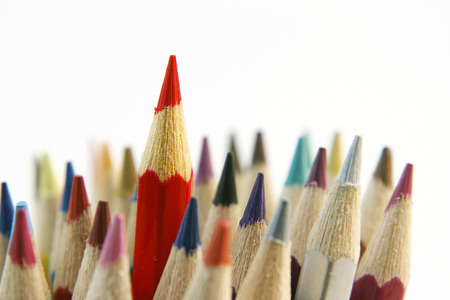 red pencil: Red pencil standing out from others