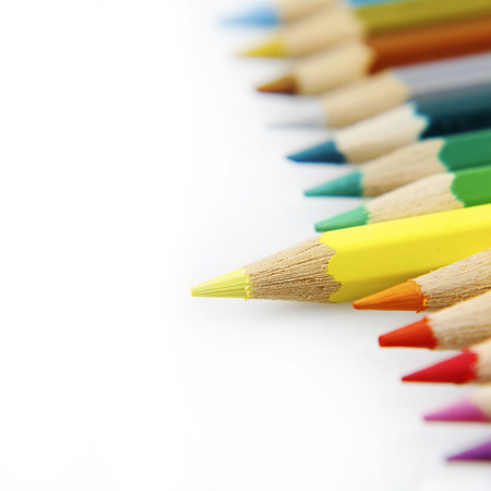 individualist: Yellow pencil standing out from others Stock Photo