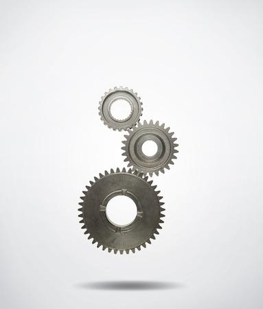 Drie metalen tandwielen radertje samenvoegen