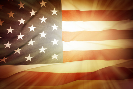 sunshine state: Brightly lit American flag background