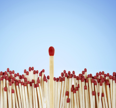 odd one out: One match standing out from the crowd Stock Photo