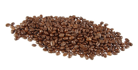 Closeup of coffee beans on plain background Stock Photo - 25798883