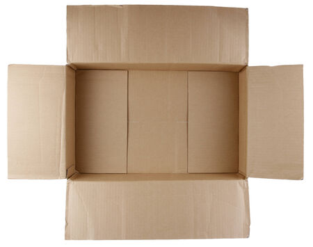 cardboard cutout: Open empty cardboard box on white