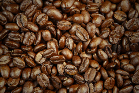 Closeup of roasted coffee beans photo