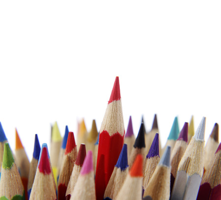 special individual: Red pencil standing out from others