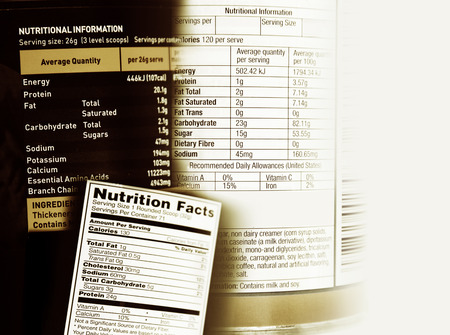 food label: Nutrition information facts on assorted food labels Stock Photo