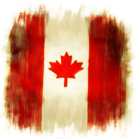 canadian flag: Canadian flag grunge painted effect