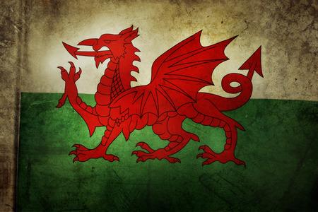 welsh flag: Welsh flag. Grunge effect Stock Photo