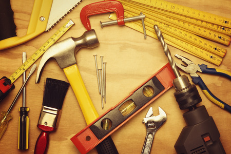 hardware: Assorted work tools on wood