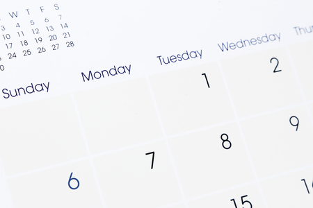 weekly: Closeup of numbers on calendar page