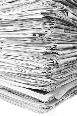 Closeup of stack of newspapers photo