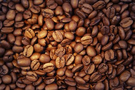 Closeup of roasted coffee beans photo
