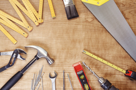 carpentry tools: Assorted work tools on wood