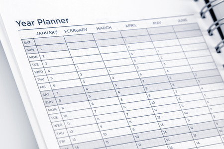 agenda year planner: Year planner page in diary