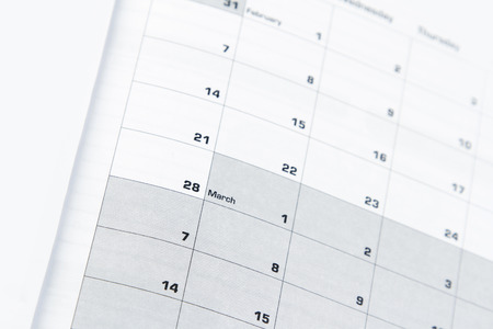 daily planner: Closeup of numbers on calendar page