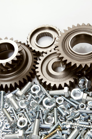 interlink: Metal gears, nuts and bolts Stock Photo