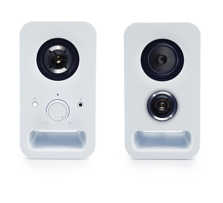 Two stereo speakers on plain background