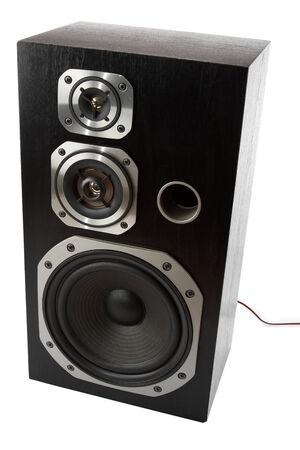 equipo de sonido: Altavoz estéreo en el fondo plano Foto de archivo