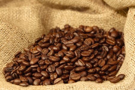 Roasted coffee beans on sacking photo