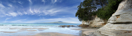 Rangitoto Island in the Hauraki Gulf, Auckland, New Zealand.  photo