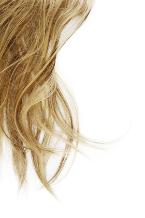 long blonde hair: Blonde hair on white background Stock Photo