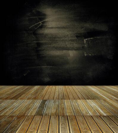 floorboards: Wooden floorboards and dark wall Stock Photo