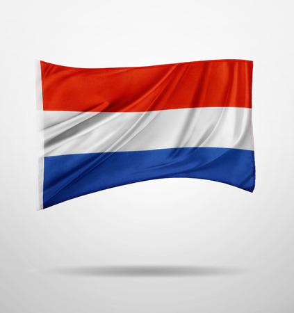 Netherlands flag on plain background photo