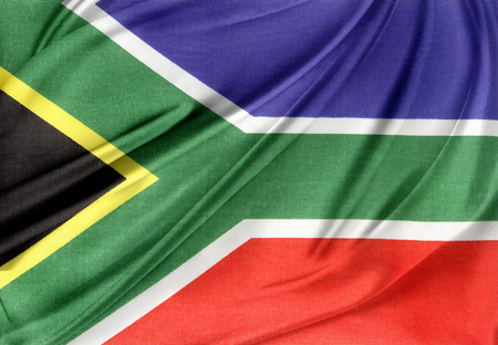 Closeup of silky South African flag