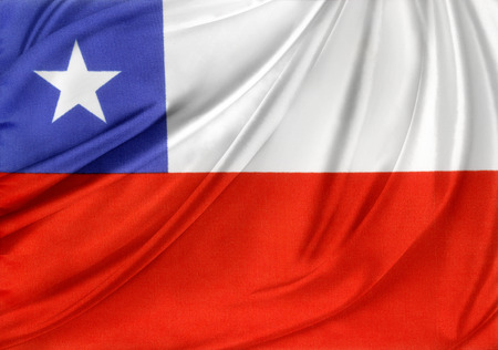 chilean flag: Closeup of silky Chile flag  Stock Photo