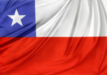 bandera chile: Primer plano de la bandera de Chile sedoso