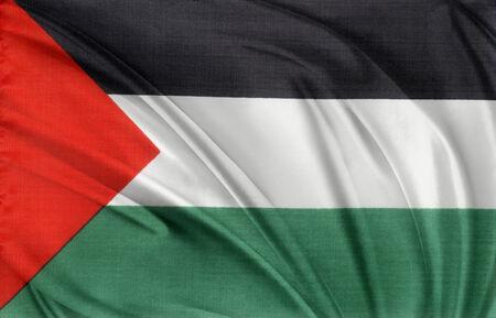Closeup of silky Palestine flag photo