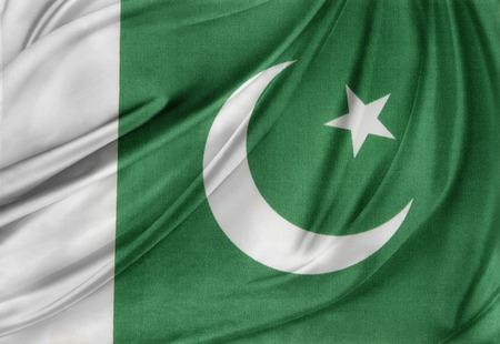 pakistan flag: Closeup of silky Pakistan flag