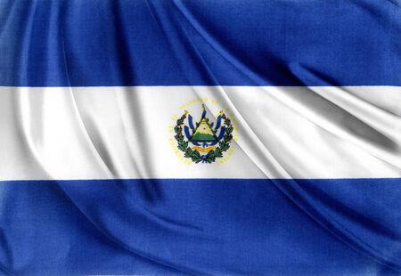 el salvadoran: Closeup of silky El Salvador flag