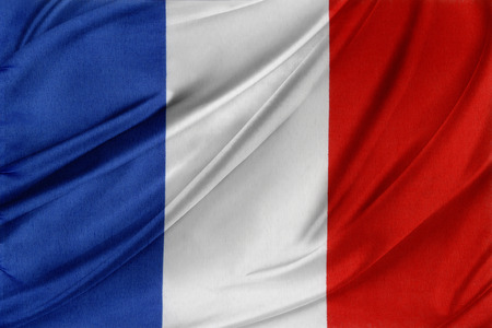 Closeup of silky French flag  Stock Photo